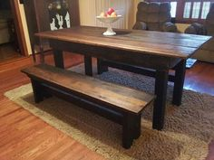 Reclaimed Barnwood Dining Set Includes A Farm Table And Matching Benches.