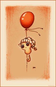 Chopin ~ Cute cat and baloon ~ Lindo gato y globo rojo