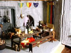 The Great Hall. Norman Castle, Dollhouse Miniatures, Painting, Furniture, Home Decor, Decoration Home, Room Decor, Doll House Miniatures, Painting Art