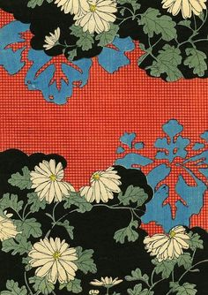 Kimono Pattern With Daisies woodblock print, Japan, artist unknown. Japanese Textiles, Japanese Patterns, Japanese Fabric, Japanese Prints, Japanese Design, Japanese Art, Japanese Kimono, Motifs Textiles, Textile Prints