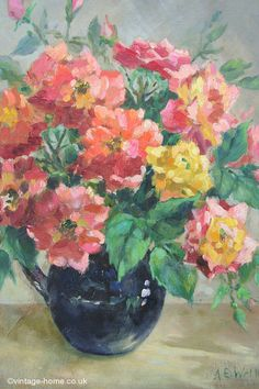Vintage Home - 1930s Roses Oil Painting: www.vintage-home.co.uk