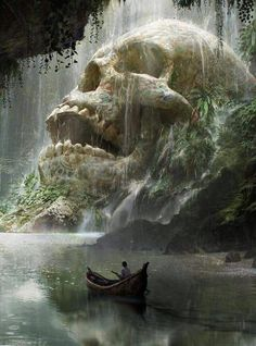 art conceitual Fantasy Art Watch Skull Cave by Quentin Mabille Fantasy Artwork, Fantasy Concept Art, Dark Fantasy Art, Dark Art, Fantasy Paintings, Anime Fantasy, Fantasy Places, Fantasy World, Art Watch