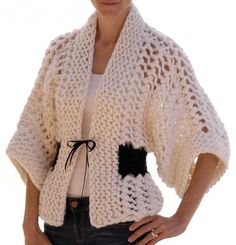 Gorgeous pattern! Knitting pattern for Openwork Kimono cardigan sweater jacket with shorter kimono sleeves on Etsy (affiliate link) tba