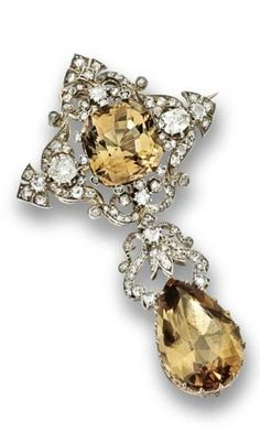 Topaz and Diamond Pendant/Brooch -  mid 19th Century - cushion-cut and pear-cut champagne-colored topaz - old-mine, single-and rose-cut diamonds - mounted in gold and silver