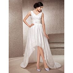 +A-line+V-neck+Asymmetrical+Court+Train+Taffeta+And+Lace+Wedding+Dress+–+USD+$+249.99