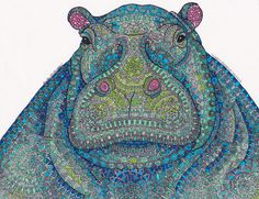 """#2 is done in blue! You can get this original """"Hippie-Potamus"""" for $200, or as a print starting at $20! Message me if you're interested, I'll absorb the domestic shipping cost :)"""