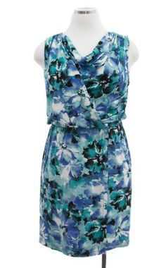 Anne Klein Sea Glass Combo Jersey Sleeveless Faux Wrap O Dress Medium « Dress Adds Everyday