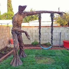 """'Guardians of the Galaxy's Groot continues to capture the hearts of fans, as the Marvel movie's writer-director James Gunn shares an image of one of the most eye-catching, heartstring-tugging tributes yet to the character. It's a life-size Groot standing in a back garden - with a child-size swing hanging from his outstretched arm. Gunn posted on Instagram, """"Wow! Some awesome folks made their kid a Groot swing for an upcoming reality show called Super Fans, Super Builds."""