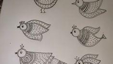 Madhubani Art, Madhubani Painting, Diy Home Crafts, Arts And Crafts, Indian Folk Art, Drawing For Beginners, Bird Drawings, Indian Paintings, Bird Design