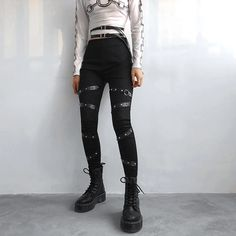 Best Offer for New Fashion Punk Gothic Women Pants Women Clothing High Waist Pencil Pants Streetwear Price Description of New Fashion Punk G. Edgy Outfits, Grunge Outfits, Simple Outfits, Cute Outfits, Grunge Clothes, Grunge Look, Style Grunge, 90s Grunge, Punk Fashion