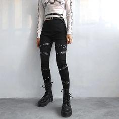 Best Offer for New Fashion Punk Gothic Women Pants Women Clothing High Waist Pencil Pants Streetwear Price Description of New Fashion Punk G. Punk Fashion, Fashion Pants, Korean Fashion, Fashion Outfits, Women's Grunge Fashion, Womens Fashion, Fall Fashion, Fashion Trends, Curvy Fashion