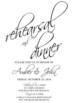 Rehearsal Dinner Invites   Black and White   Formal Rehearsal Invitations   Modern Rehearsal Invite   Elegant Wedding Rehearsal Dinner *If you want a different color theme, just let me know, I can change it at no extra charge. This listing is for a PRINTABLE single-sided invitation