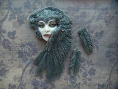 "Cabochon Porcelain "" Branwen"" Raven Shapeshifter and Raven Feathers by Laura Mears"