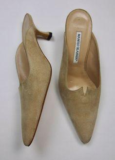 NWOT $825 Manolo Blahnik 38 EU 7.5 USA Beige Suede Mule Slide Skinny Kitten Heel #ManoloBlahnik #Mules