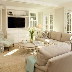 built in tv cabinet with window seats on sides - Google Search