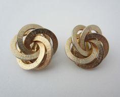 Vintage Kramer Clip-On Earrings Modernist Loops Design Gold Tone Metal 1960's
