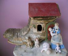 Antique Woman n Papier Mache Shoe China Wood Dollhouse Dolls