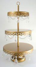 GOLD VINTAGE STYLE CAKE PEDESTAL CUPCAKE STAND 3 TIER CRYSTAL OPULENT TREASURES