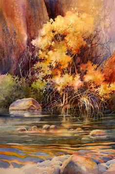 Watercolor painting by Roland Lee of Zion Canyon along the Virgin River