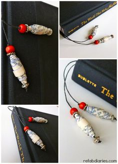 the ReFab Diaries: DIY: Paper-bead bookmark Paper Beads Tutorial, Make Paper Beads, Paper Bead Jewelry, Beaded Jewelry, Paper Earrings, Homemade Bookmarks, Book Page Crafts, Beaded Bookmarks, Diy Crafts To Do