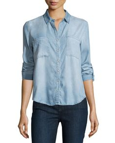 Velvet Heart Snap-Front Denim Blouse, Mist Blue  New offer @@@ Price :$98 Price Sale $69
