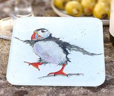 Sarah Boddy Puffin Glass Coaster - Premium Drinks Mat, Artist Illustrated, x Recycled Glass, Watercolour Puffin Illustration, Single Coaster Seaside Decor, Coastal Decor, Watercolor Artwork, Watercolour, British Seaside, Glass Coasters, Recycled Glass, Beach Themes, Soft Furnishings