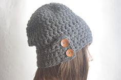 Slouchy Beanie Hat With Two Buttons Chunky Crochet by yagmurhat