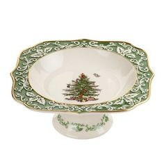 Spode Christmas Tree Embossed Footed Bowl