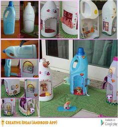 How to DIY Adorable Doll Houses from Plastic Bottles - - MATERIALS NEEDED: ( ) Empty Cleaning Supply Containers, ( )Cutting Stylus, ( )CD Markers, ( ) Fabric pieces, tissues, ( )Glue and adhesive. INSTRUCTIONS: All you need to do is make an outline of the doors and the windows on these plastic containers and then cut them out with the aforementioned stylus. With the basic structure (furnished with doors and windows) now finished, we should proceed to the next stage of 'interior deco