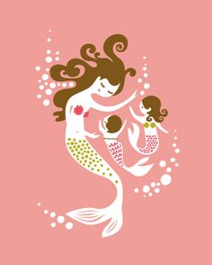 "mermaid mother & two daughters. coral/fuchsia/olive/brunette. 8X10"" giclee print. mothers day gift."