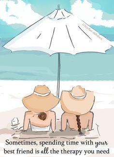 Beach Friendship Art Two Girls in Hats by RoseHillDesignStudio