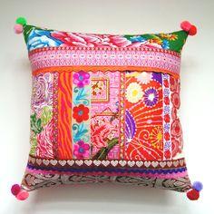 Ethnic Retro Patchwork Cushion / Pillow Cover - Stunning Unique OOak Art Pillow. £42.50, via Etsy.