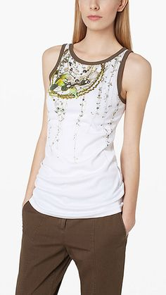 Tank top with bead embroidery 2|green