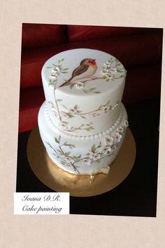 Bird & cake hand Made painting
