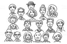 Group Of People Faces Drawing royalty-free group of people faces drawing stock vector art & more images of drawing - art product Cartoon Drawing Tutorial, Cartoon Girl Drawing, Drawing People Faces, Cartoon Drawings Of Animals, Animal Doodles, Disney Artists, Love Illustration, Disney Drawings, Free Vector Art