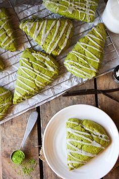 Matcha Green Tea Scones with Vanilla Bean Icing