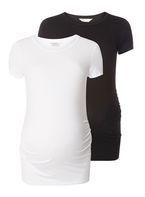Womens **Maternity Black And White Round Neck Tops- Black