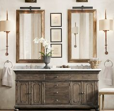 St. James Double Vanity Sink Antiqued Coffee.