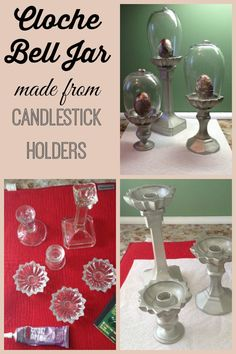 Use candlesticks and candle holders for this DIY Cloche Bell Jar