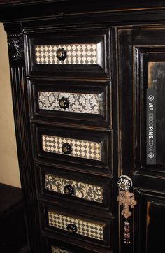 Brilliant! - Aged and decoupaged b furniture | CHECK OUT MORE DRESSER IDEAS AT DECOPINS.COM | #dressers #dresser #dressers #diydresser #hutch #storage #homedecor #homedecoration #decor #livingroom