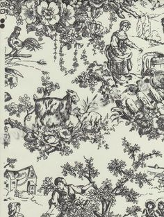 Toile de Jouy: A type of pattern consisting of a white or off—white background on which a pattern depicting a fairly complex scene is repeated. The pattern is a single colour— black, dark red or blue and commonly associated with fabrics for curtains and upholstery.