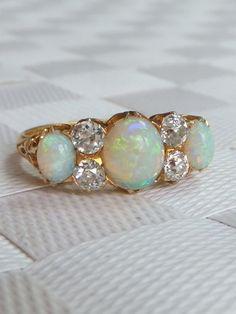 Stunning Victorian Opal Diamond 18ct Gold 3 Stone Ring 1896 | eBay