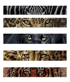 Beaded Zebra, Jaguar, Black Panther, Cheetah, Tiger Eyes Peyote Bracelets Pattern by