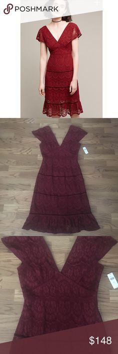 New Anthro foxiedox clarinda tiered ruffle dress Lace ruffled dress in wine/Boudreaux sold out online Anthropologie Dresses