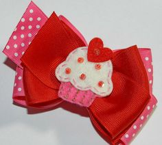 Yummy Valentine Heart Cupcake Double Hair Bow by kickassbows, $8.49