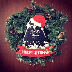 Christmas Geek Wreath MERRY SITHMAS Star Wars inspired, christmas wreath outdoor, Christmas Nerd Gift, Darth Vader Wreath, Star Wars Decor