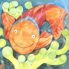Children's Fish Wall Art Prints Clown Fish Art Print for kids room, nursery, office Nautical Nursery Decor, Nursery Wall Art, Nursery Office, Kids Prints, Wall Art Prints, Orange Bathroom Accessories, Fish Wall Art, Cute Fish, Fish Print