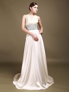 V Neck Silk Like Satin Reception Gown with Chapel Train