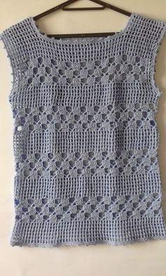 Débardeurs Au Crochet, Gilet Crochet, Crochet Jacket, Crochet Woman, Crochet Cardigan, Easy Crochet, Crochet Baby, Tunisian Crochet, Crochet Summer Tops