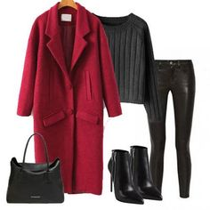 #fashion So nice wine red coat!